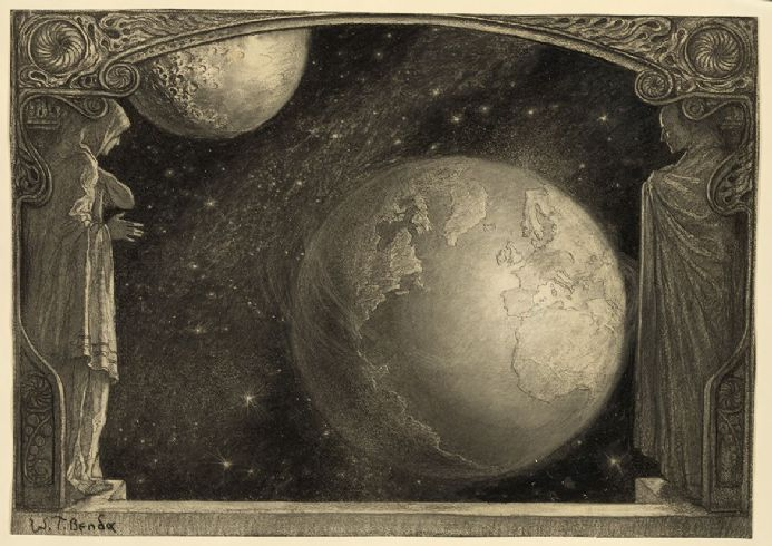 Benda, Wladyslaw T: The Earth and the Milky Way and Moon. Fine Art Print.  (004206)
